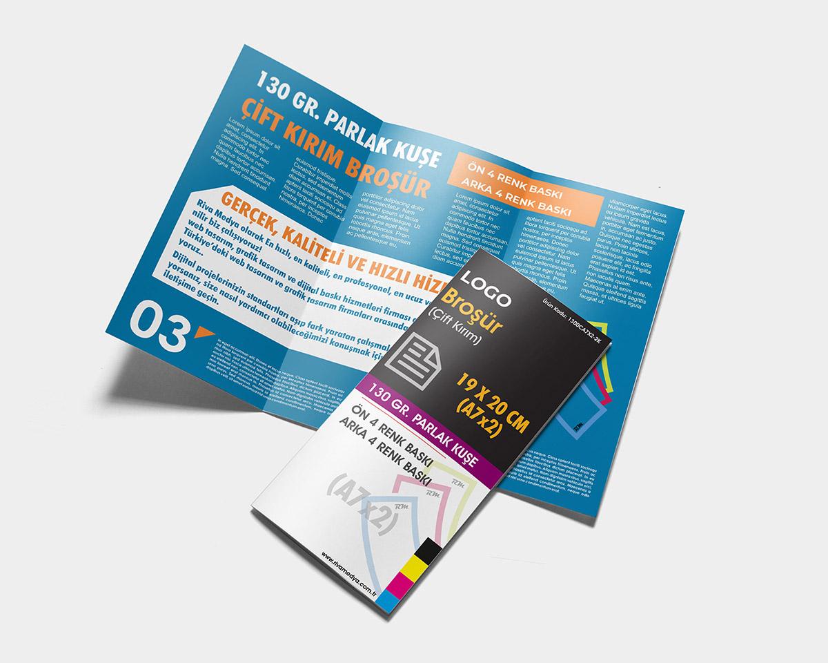 Çift Kırım Broşür - 19x20 CM (A7x2) - (Tasarım + Baskı)