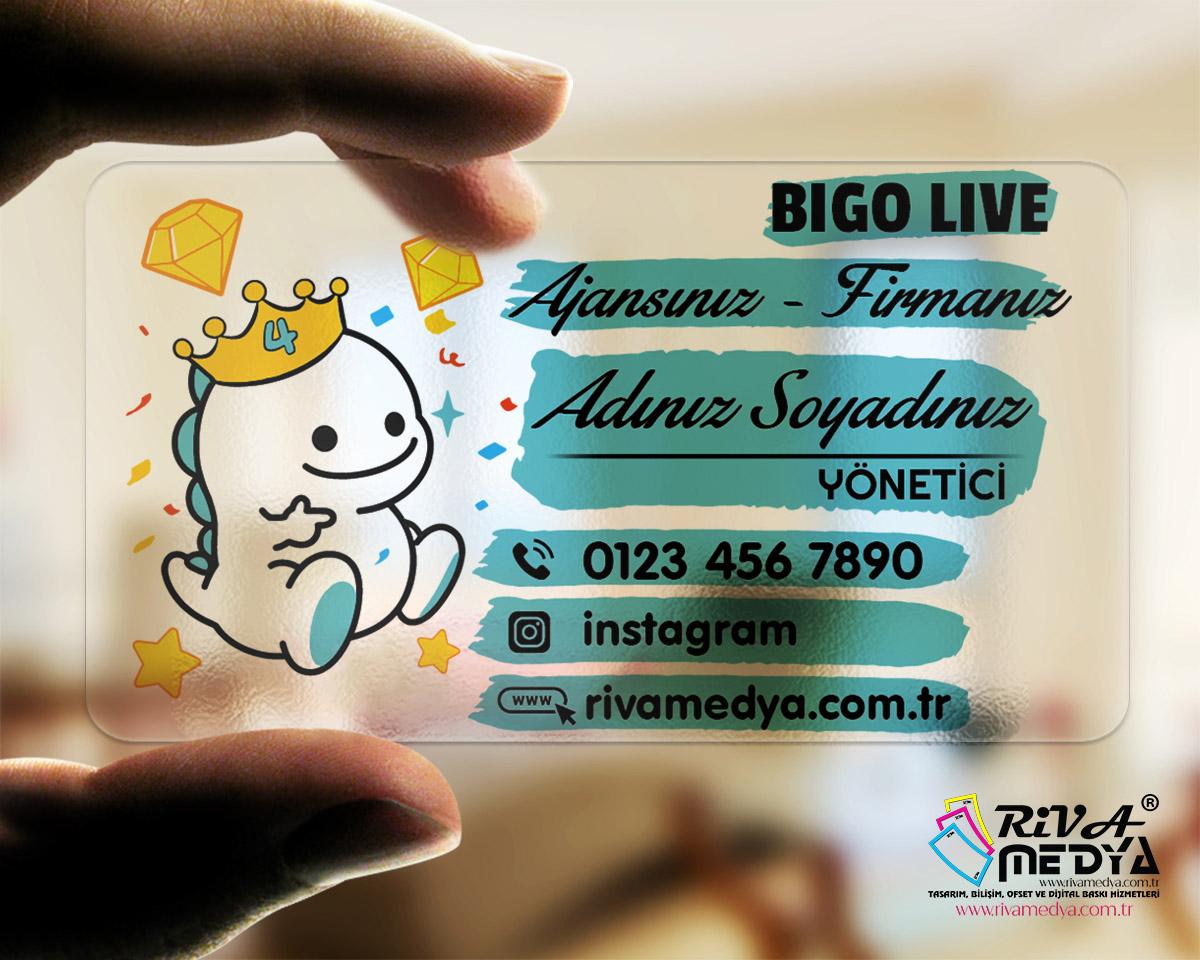 Bigo Live Şeffaf Kartvizit - Hazır Kartvizit Tasarımı