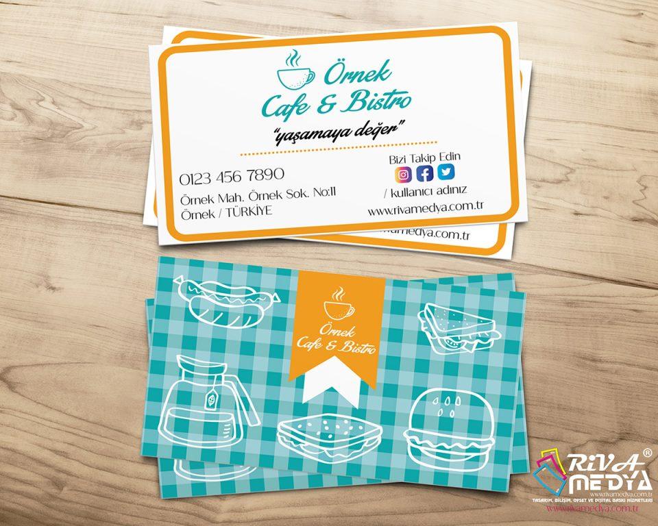 Cafe & Bistro Kartvizit - Hazır Kartvizit Tasarımı