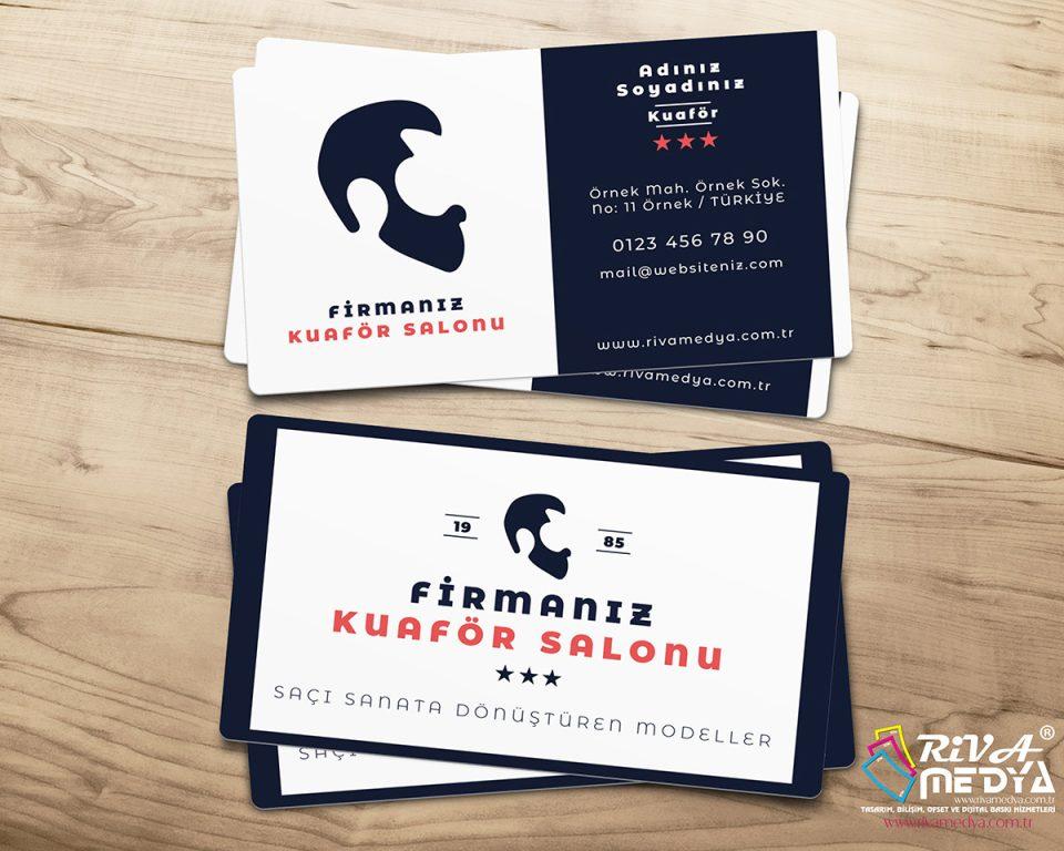 Erkek Kuaför Salonu Kartvizit - Hazır Kartvizit Tasarımı