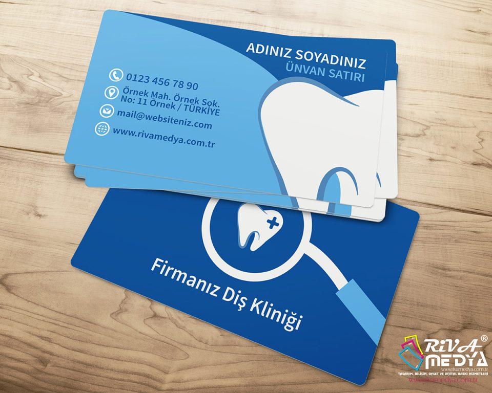 Mavi Diş Kliniği Kartvizit - Hazır Kartvizit Tasarımı