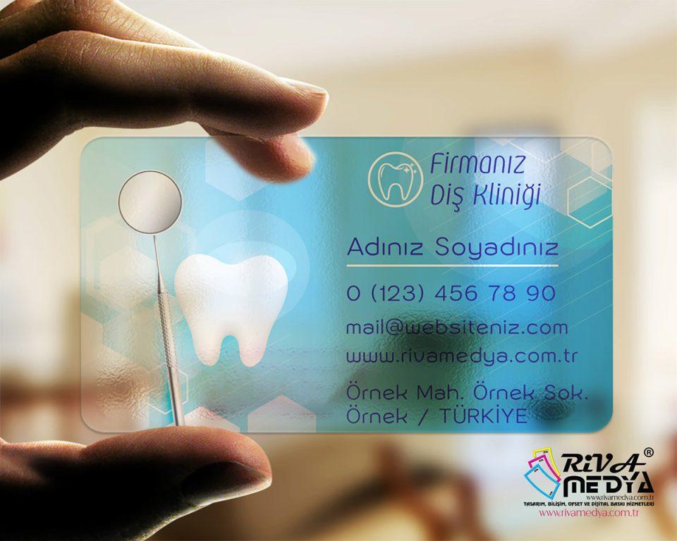 Diş Kliniği Şeffaf Kartvizit - Hazır Kartvizit Tasarımı