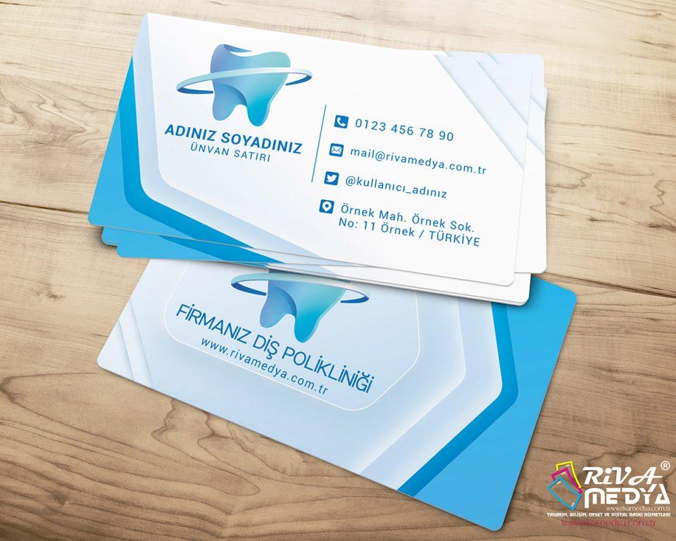 Diş Polikliniği Modern Kartvizit - Hazır Kartvizit Tasarımı